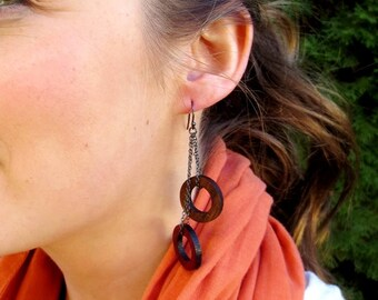 Walnut and Purpleheart Circle Earrings, Wood Dangle Earrings