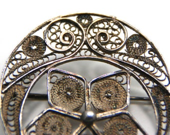 Vintage Silver Brooch Moon and Star - Arabic - mid 20th century
