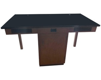 Industrial/Lab Table from Chemistry Lab in Midwestern High School, Two Drawers