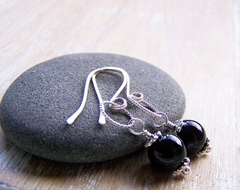 Onyx and Sterling Silver Dangle Earrings, Onyx Earrings, Black Dangle Earrings