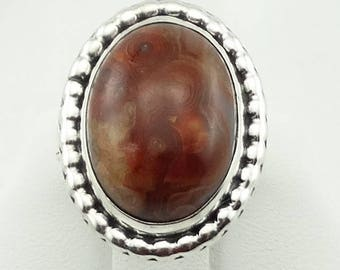 Gorgeous Vintage Fortification Agate Hand Signed Sterling Silver Ring FREE SHIPPING! #SIGNED-SR4