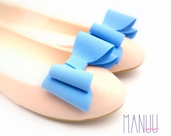 Blue bows - shoe clips Manuu, Bridal shoe clips, Wedding shoe clips, Something blue