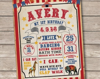 Circus Birthday Poster. Circus First Birthday Poster. Circus Birthday Sign. First Birthday Poster. Circus Party. Circus Birthday Supplies