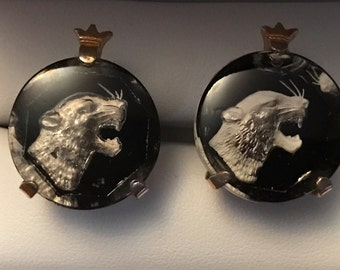 RARE Vintage SWANK Chunky Crystal Panther Cufflinks