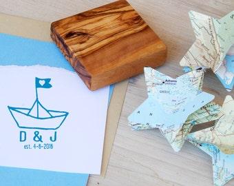 Custom Paper Boat Olive Wood Stamp