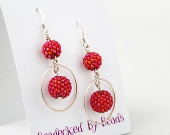 Forest Fruits Seed Beaded Bead and Sterling Silver Hoop Earrings