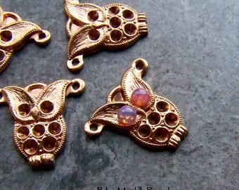 Owl Pendant, Brass Setting, Vintage Finding, Brass Finding, Vintage Pendant, Bird Pendant, Rhinestone Setting, Unique Pendant, Whimsical, 4