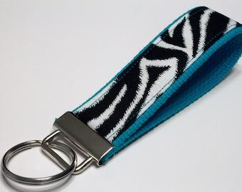 Fabric Key Fob, Key Chain, Key Ring, Key Holder, Wristlet Key Fob, Wristlet Keychain, Fabric Key fobs-Zebra teal