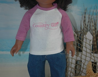 American, made, girl, doll, graphic tee, shirt, FREE pajama pants, 18 inch doll