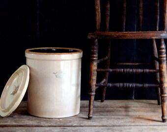 Antique 5 Gallon Robinson Ransbottom Blue Crown Crock, Urban Farmhouse, Pickle Crock