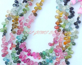 "Natural Tourmaline Gemstone Beads, Multi Tourmaline Faceted Pear Briolettes, 5-6 MM, Loose Tourmaline Briolettes, AAA++ Quality, 8"" Strand"