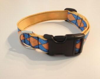 Blue and Gold Argyle Dog Collar