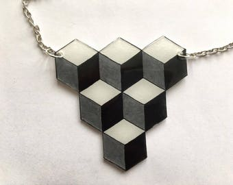 Silver grey, black and white graphic necklace, shrink plastic necklace, shrink plastic necklace