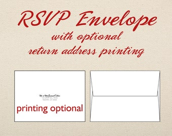 RSVP Envelope Add-on for RSVP card in wedding invite set, with optional printing.