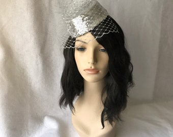 Silver Fascinator,Tea Party Hat, Kentucky Derby Hat, Silver Wedding Hat, Bridal Pillbox hat,Pillbox hat with veil, Mother of the Bride Hat,