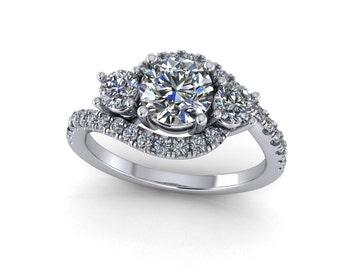 custom vintage rings design,Diamond engagement ring in 14k white gold  with moissanite center stone. custom design rings,Style 85WDM