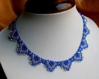 Bib necklace Necklaces beads Jewelry beads Small beads Blue necklace Everyday necklace Beaded necklace Bead weaving jewelry Short necklace