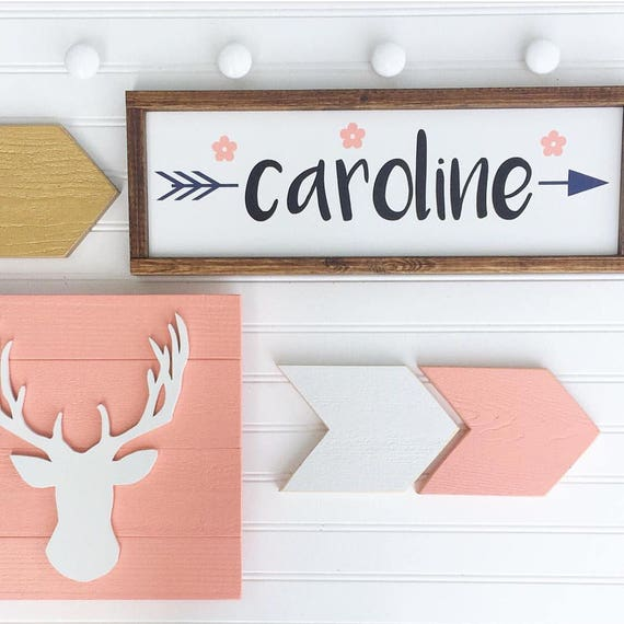 Boho Baby Nursery Set . Woodlands Fawn. Baby Name Sign . Deer Head . Antler Nursery . Arrows  . Woodland Nursery .  Boho Nursery