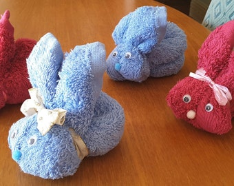 Flannel/face cloth rabbit animals + Free  Gift