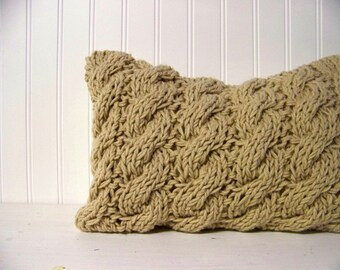 free shipping - cable knit lumbar pillow - tan - camel - cozy - warm