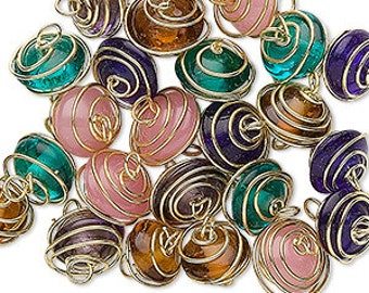 25pcs Glass Beads Mixed 7x4mm-11x6mm Wire Wrapped Links