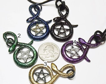 Pentagram in a snake, Star in snake, wiccan necklace,Jewelry,