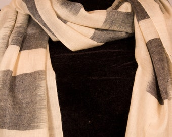 Black & White Pure Pashmina/Cashmere Scarf/Wrap, Hand Woven on Hand loom in Kashmir, Luxury, Gift, King of Wool, Soft, Light Weave