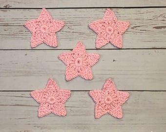 Crochet Star Applique - Set of 5 pink cotton crochet stars.