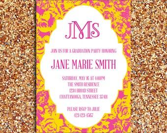 Printable – Floral Pattern Preppy Graduation Party Invitation with Monogram