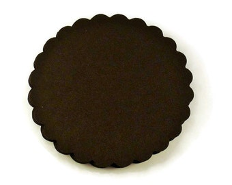 Three Inch Die Cut Paper Scalloped Circles  3 inch Circles in  Jet Black Set of 25