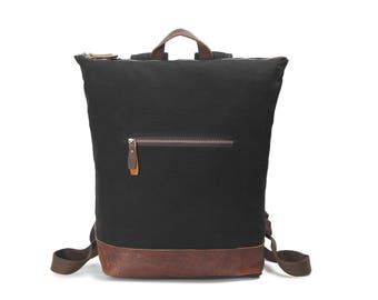 Top-Zipper vintage style leather canvas backpack - Black, waxed canvas, water resistant