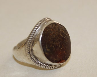 Ring Size 10.5, Tribal Ring Sterling, Ethnic Silver Ring, Boho Statement Silver Rings, Sterling Silver and Amber Jewelry, Large Amber Ring