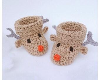 Reindeer Baby Booties Crochetpattern, Crochet Reindeer Booties, Newborn, Baby's First Christmas, Christmas Gift, Baby Shower, Baby Shoes