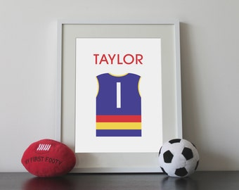 Personalised AFL shirt print A3 with name and number – all teams available.