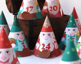 DIY Advent calendar printable,  24 cute Gnomes Advent boxes for Christmas countdown - xmas calendar gift box