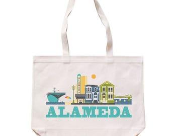 City Living Tote bag - Alameda - California - Market bag - Reusable bag - Canvas tote - Shopping bag - Shoulder bag - Organic