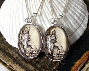 Antique Deep Sea Diver Earrings in Silver - Diving Dangle Earrings
