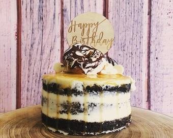 Happy Birthday Cake Topper - Raw Wood