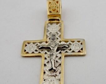 Jerusalem Cross, 925 Silver Cross, Gold Cross, Israel, 24K Gold Plating filigree Cross Pendant, Free Shipping, Men, Christmas, Birthday c403