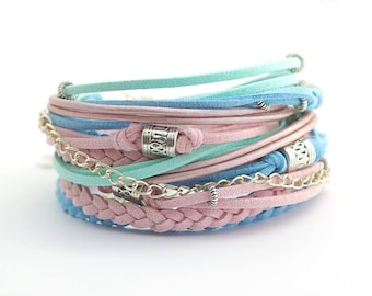 set of 2 Pastel Colors Wrap Bracelets, rose blue bracelet, summer colors bracelet, friendship bracelet, beach jewelry, gift for friend