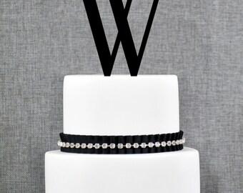 Letter W - Initial Cake Topper, Monogram Wedding Cake Topper, Custom Cake Topper