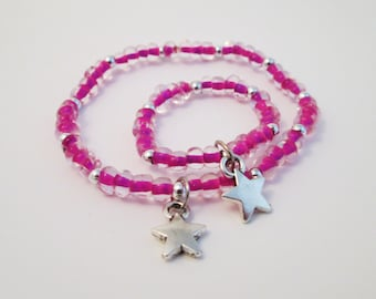 Matching charm bracelets Little girl and doll jewelry hot pink star Doll accessory