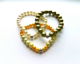 Set of 3 Pearl Glass Bead Bracelets in Green, Yellow and Ivory, Silver Bali Style Bead Stretch Bracelets, Handmade, Bracelet Stack