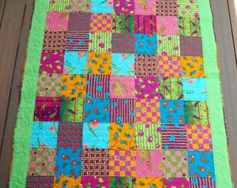 Quilt & Pillow Set Modern, Bright, Fun Lap Quilt, Couch Throw, Adult, Child