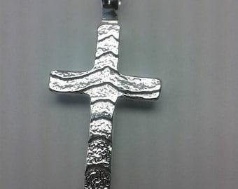 Sterling silver cast cuttlebone cross