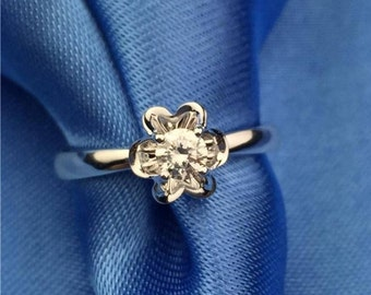 Flower Diamond 18k White Gold Ring Band Engagement Wedding Birthday Anniversary Valentine's Six Petal Flower