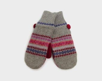 Wool Mittens // Fleece Lined Felted Wool Mittens // Red and Gray Fair Isle Stripe Wool Sweater Mittens