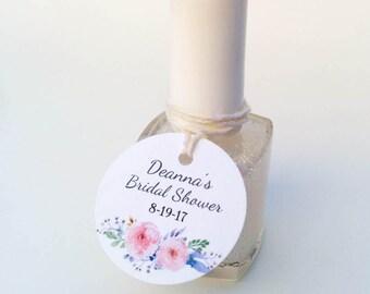 Mini nail polish tags - Floral nail polish tags - Bridal Shower favor tags - Round Baby shower tags - Small polish tags (C-07)