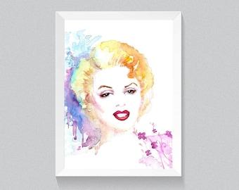 Marilyn Monroe handmade portrait in watercolor , printable wall art,painting Home decor, digital download,