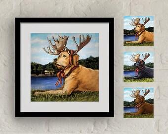 """Framed """"Moose Sighting"""" Print Labrador Retriever Art 16""""x16"""""""